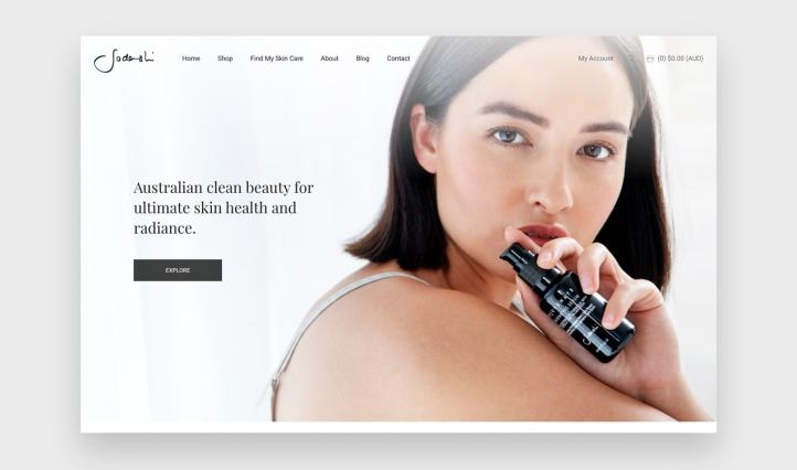 Sodashi home page with a beautiful, modern design