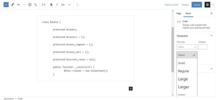 Adjusting the font size of the Code block in the WordPress editor.