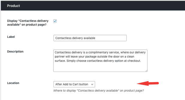 Configure the position of product page option