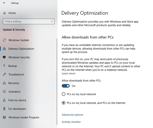 Delivery Optimization for Windows 10 Network