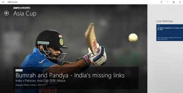 ESPN Cricinfo Windows App