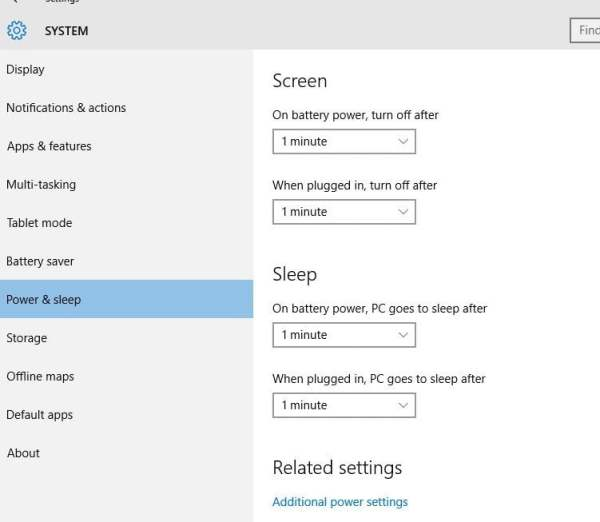 Power and Sleep Settings in Windows 10
