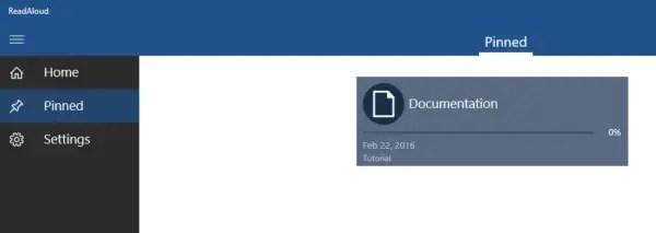 ReadAloud Pinned Screen
