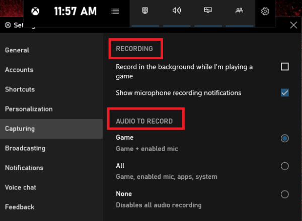 Recording Option in Xbox Game Bar