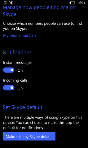 Skype Video App Settings 2
