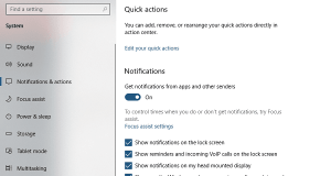 Windows 10 Notifications and actions