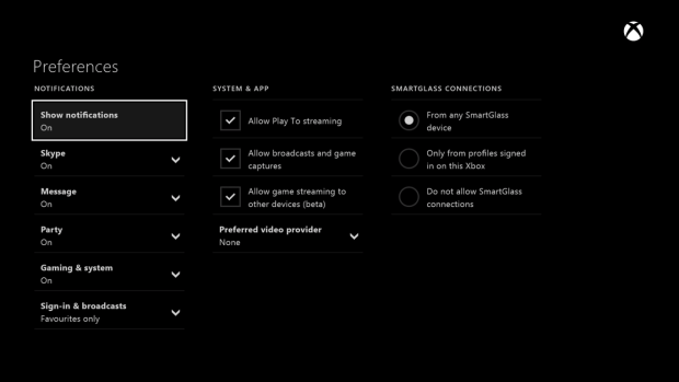 XBox Streaming Option in Console