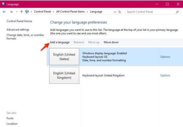Control Panel Add a language