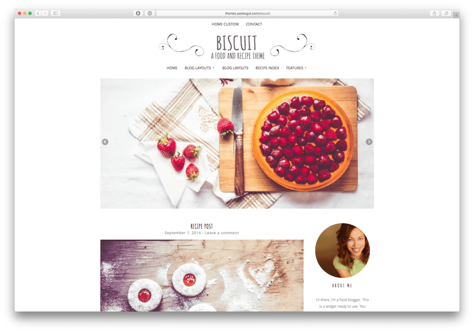 Screenshot of the Biscuit food blog WordPress theme