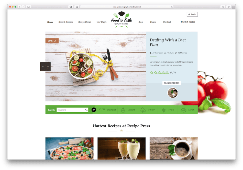 Screenshot of the RecipePress food blog WordPress theme