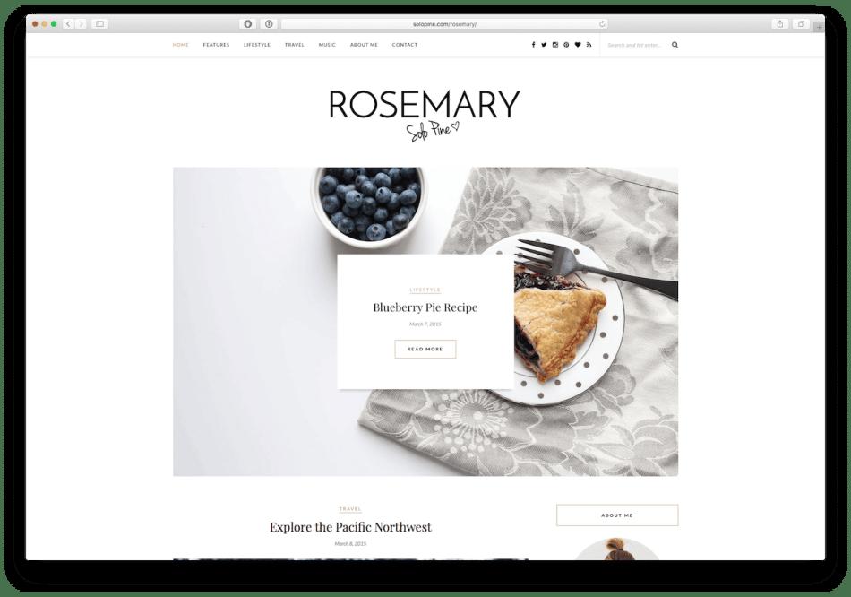 Screenshot of the Rosemary food blog WordPress theme