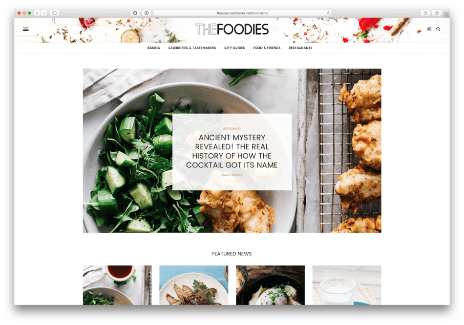 Screenshot of the The Voux food blog WordPress theme