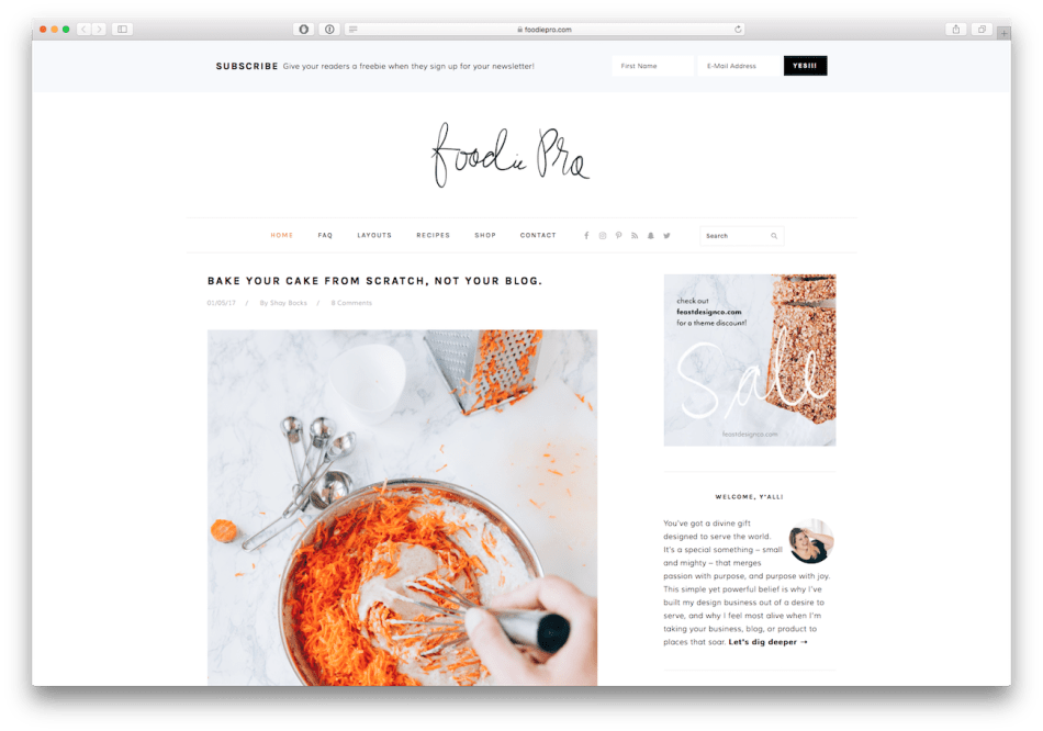 Screenshot of the Foodie Pro food blog WordPress theme