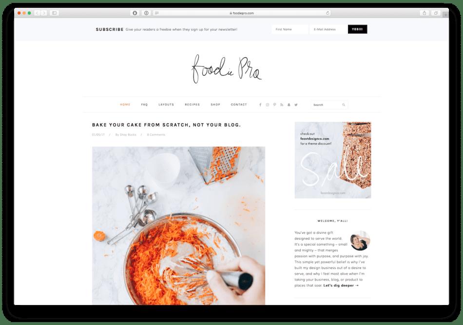 Screenshot of the Foodie Pro food blog WordPress theme