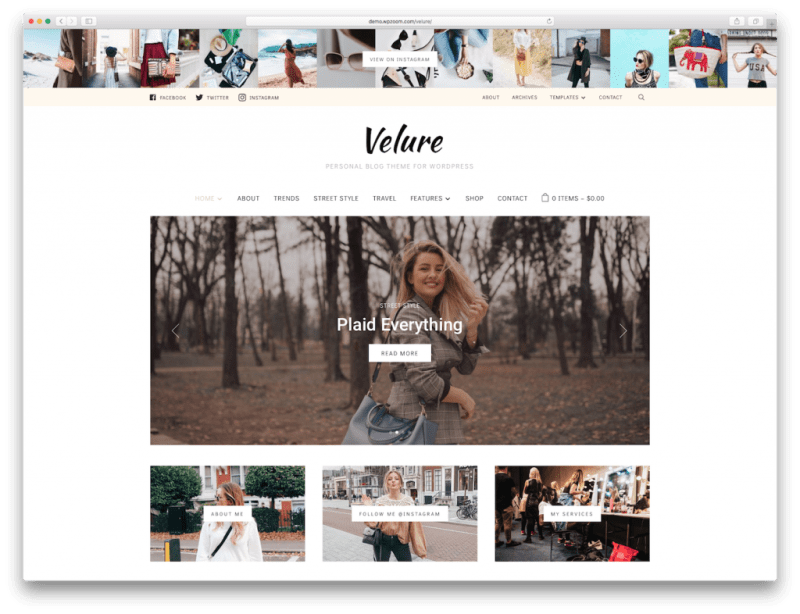Screenshot of the Velure blog WordPress theme