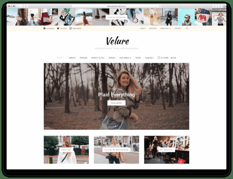 Screenshot of the Velure blog WordPress theme