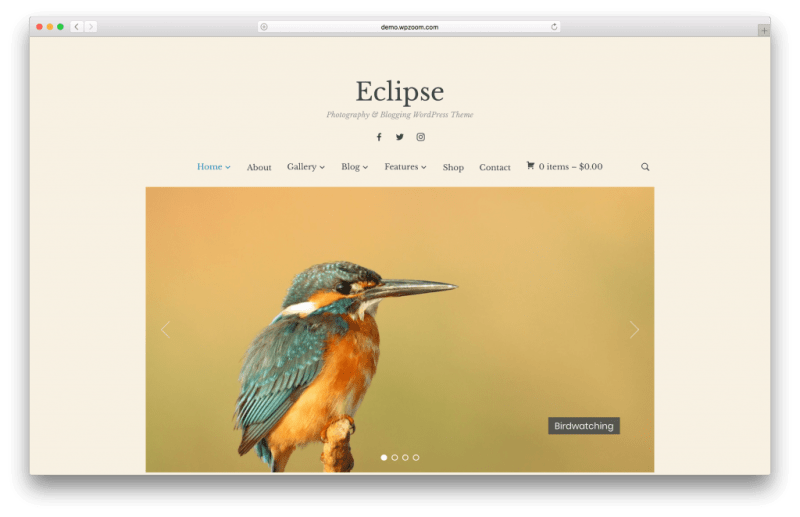 Eclipse WordPress portfolio theme screenshot