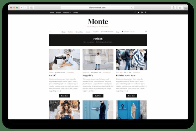 Fashion blog posts page.