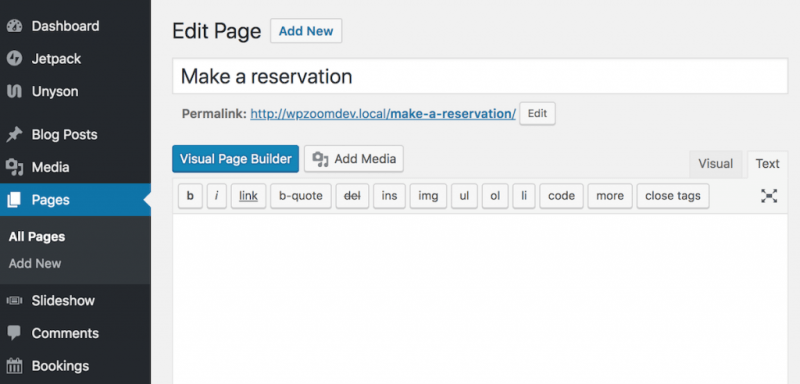 Reservation page.
