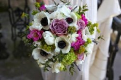Leigh's beautiful bouquet with white anemones, memory lane roses amongst other flowers