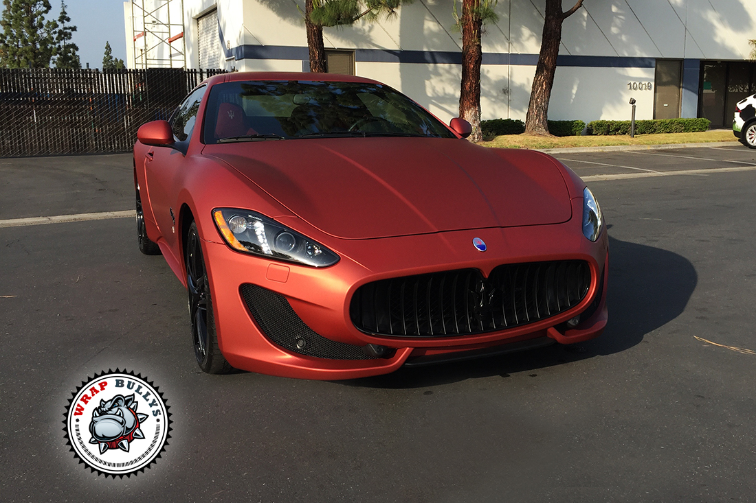 Maserati Granturismo Sport Wrapped in Matte Rose Red. Call today for pricing on your car wrap.