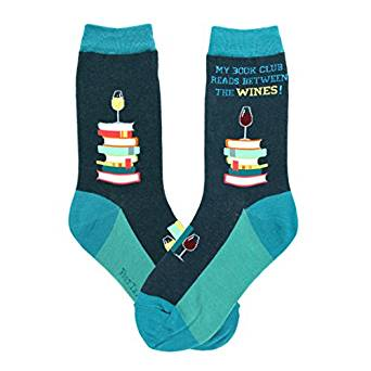 My book club reads between the wines socks