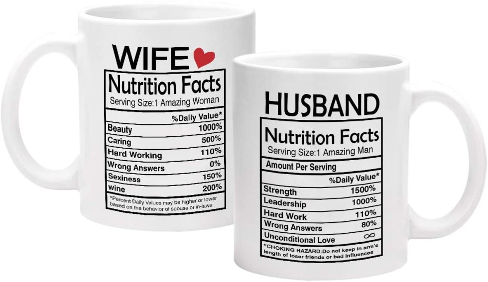 Wife Husband Nutritional Facts mugs anniversary gift