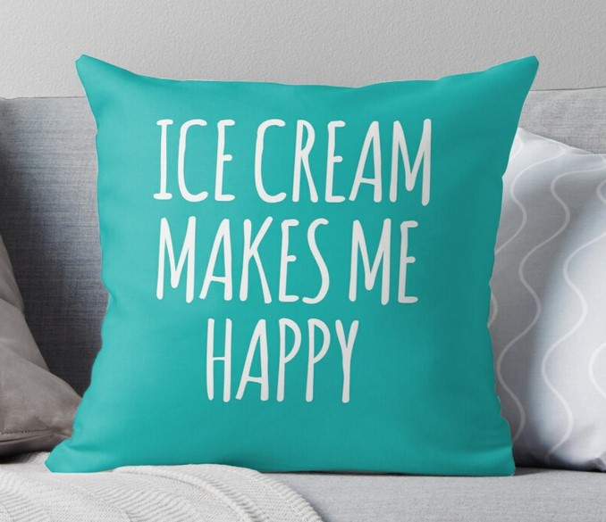 ice cream makes me happy cushion