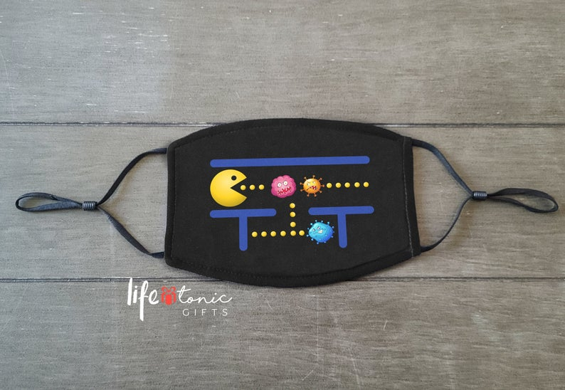 pac man vs coronavirus video game face mask
