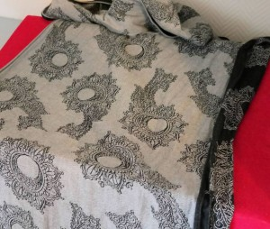 place the wrap on a pillow, bed, couch.. or the floor :)