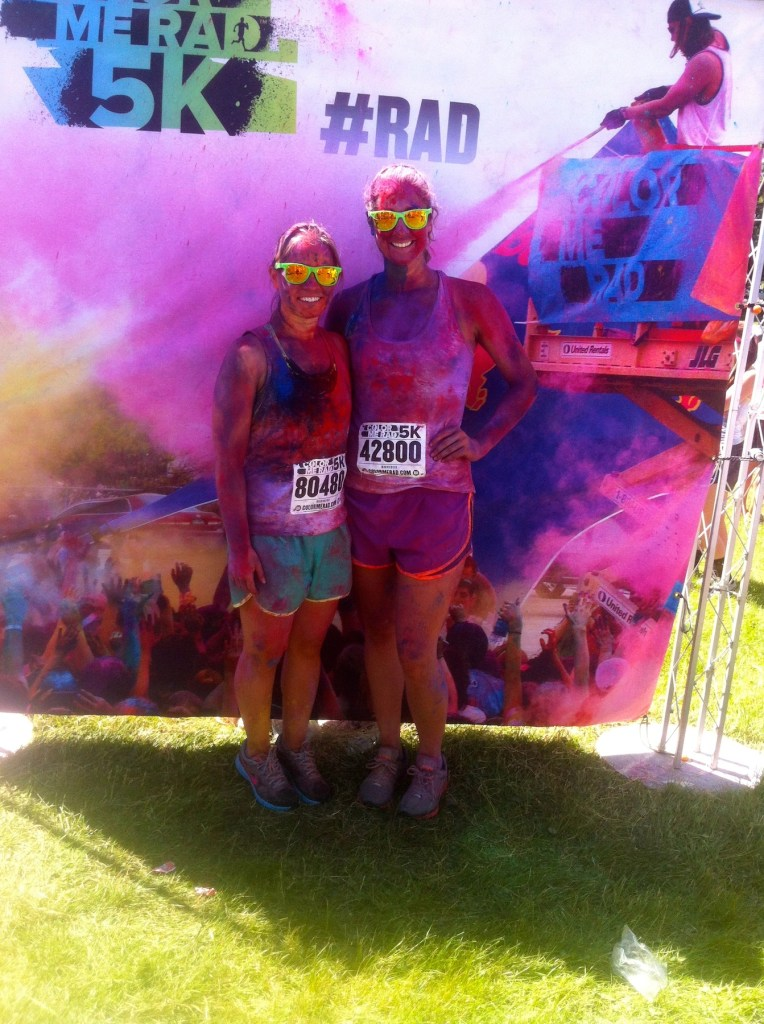Two clients after their Color Me Rad Race!