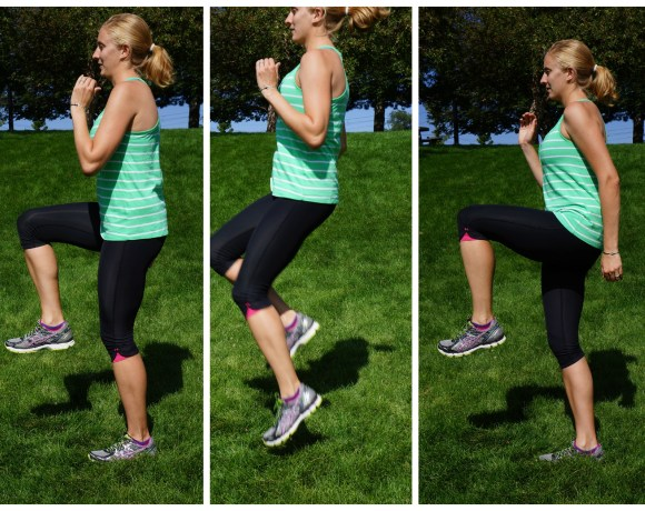 High Knees. A plyometric move great for cardiovascular workouts when you do not want to be on the treadmill.