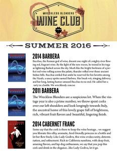 Wreckless Blenders Wine Club Shipment 2016 Summer