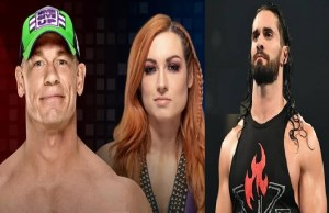 John Cena, Becky Lynch and Seth Rollins