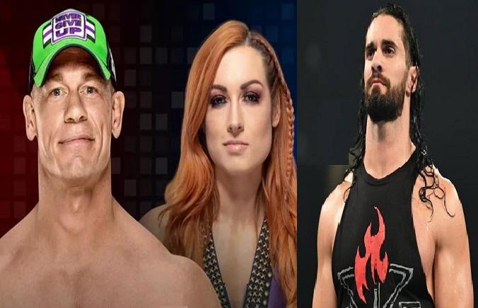 John Cena, Becky Lynch and Seth Rollins