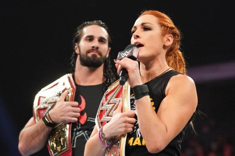 Becky Lynch and Seth Rollins