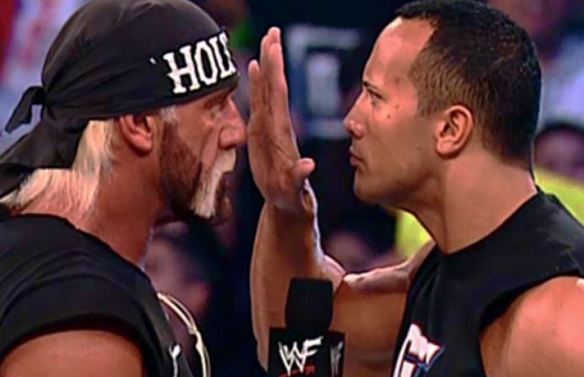 The Rock and Hulk Hogan face off