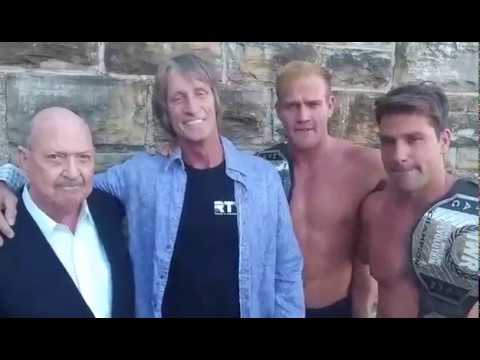 Mean Gene interviews Kevin Von Erich and his sons Marshall and Ross before OklaMania