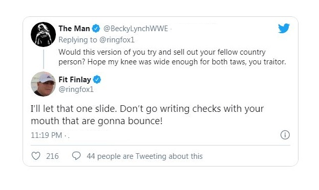 Fin Finlay replies Becky Lynch