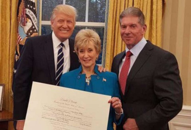 Linda McMahon and Donald Trump and Vince McMahon