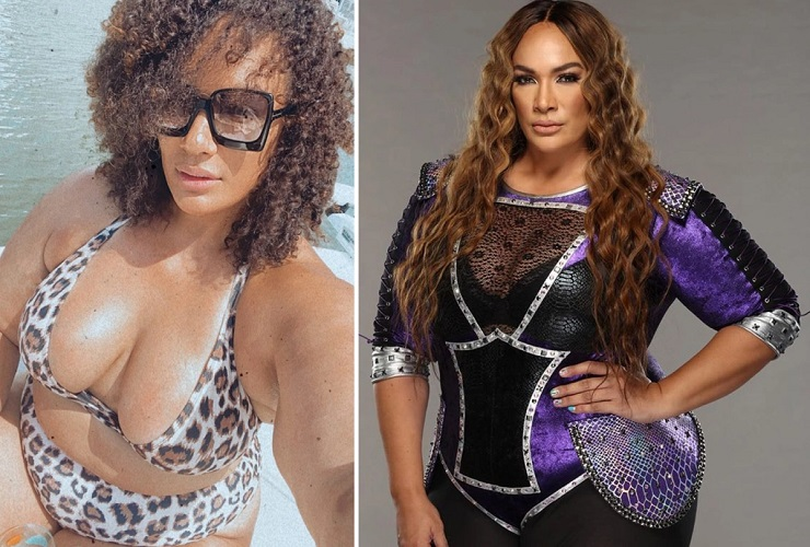 Nia Jax poses in bikini