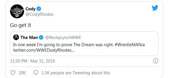 Becky Lynch Responds To Dusty Rhodes' Final Tweet, Cody Approves