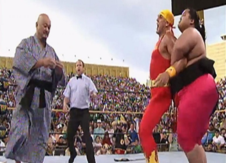 Mr. Fuji causes WWE Champion Yokozuna match against Hulk Hogan