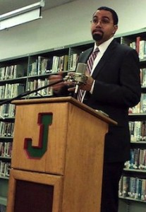 New York State Education Commissioner John King, Jr. speaks with reporters prior to a public forum on public education at Jamestown High School on Wednesday, Dec. 4, 2013. King has been criticized by NYSUT and others for not being receptive to concerns regarding the implementation of the Common Core.