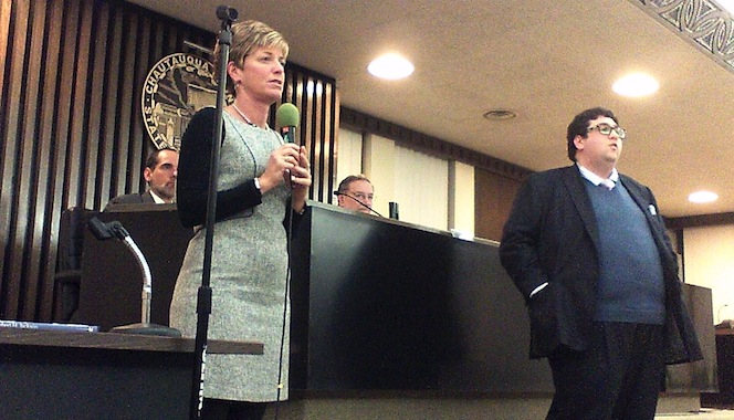 VestraCare administrator Shannon Cayea-Delker and vice president Edward Farbenblum respond to one of the questions that was posed to them during a special meeting of the Chautauqua County Legislature on Wednesday, Feb. 5, 2014.
