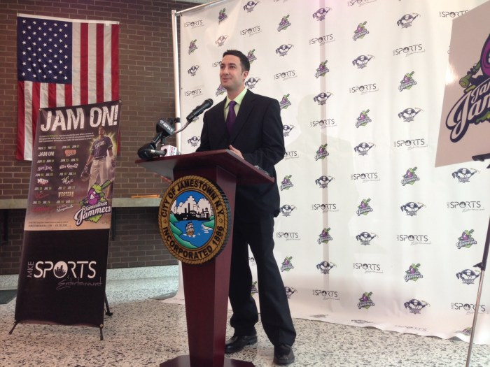 Jamestown Jammers field and business manager Anthony Barone during the March 17 Jammers  press conference at City Hall.