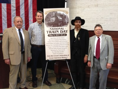 Some of the individuals who are involved with National Train Day events at the Gateway Train Station on May 9 include (from left to right): Train Station manager Lee Harkness; Jamestown Trolly Car project coordinator Bob Johnston; Train Robbery Reenactor Brian Teagarden; and noted train historian and author Ken Springirth.