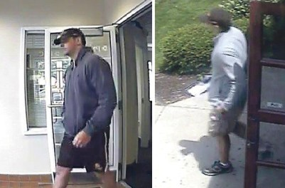 Surveillance images believed to be of the bank robbery suspect in Sugar Grove.