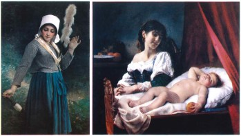 "Two pieces of artwork in the Prendergast collection that could be auctioned in the coming months: Left: ""Industry"" by French artist Eugene Romain Thirion - painted in 1874. Right: ""Sleep, Baby, Sleep"" by French artist Leon Bazile Perrault, painted in 1884. Both are from a collection of 32 paintings given to the library at the bequest of the Prendergast family."