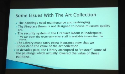 One of the slides that was part of a powerpoint presentation by the Prendergast Library during its Sept. 17 meeting.